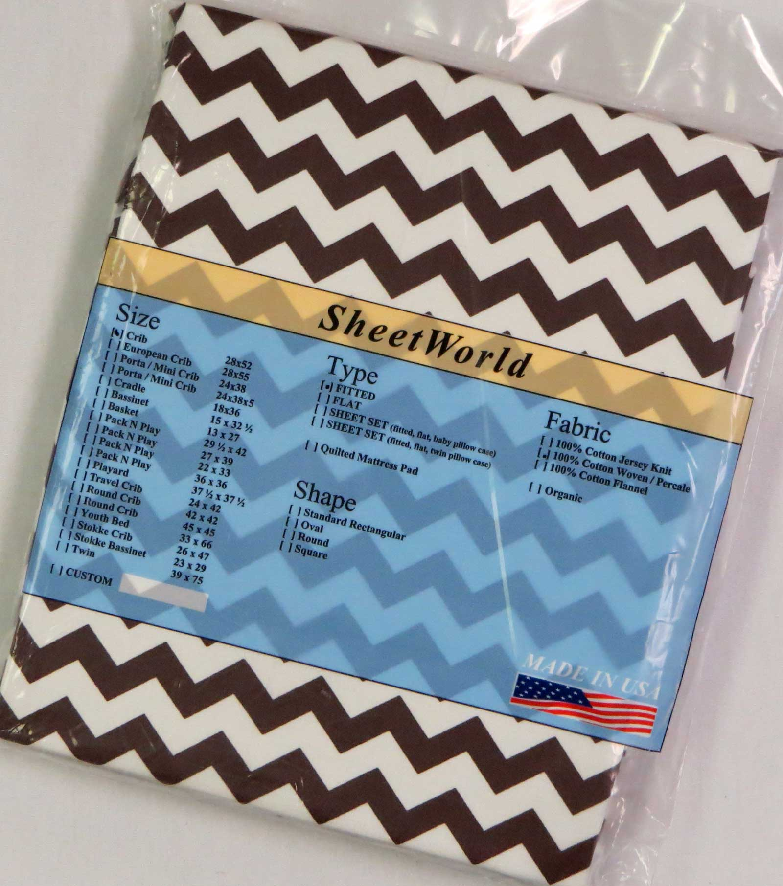 Brown Chevron Cotton Crib Sheet - 28 x 52