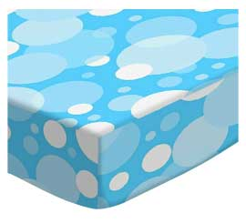 Round Crib - Blue Floating Bubbles - 45'' Fitted - 100% Cotton Woven - Modern Print Collection Round Crib Sheets