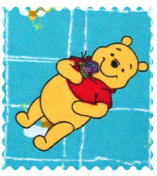 Fabric Shop - Pooh Blue Grid Fabric - Yard - 100% Cotton Flannel - Character Prints Fabric Shop