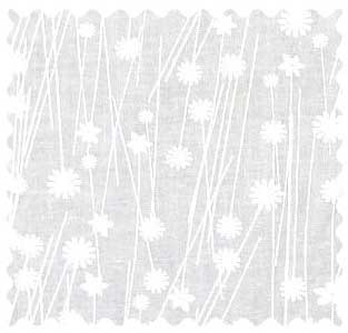White On White Floral Stems Fabric