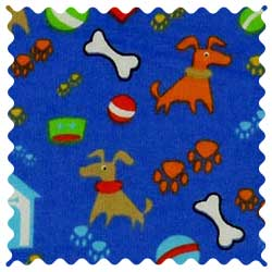 Doggy Play Blue Fabric