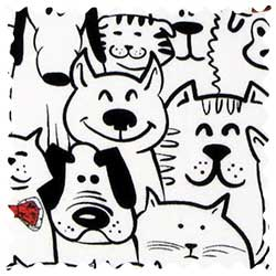 Cats & Dogs Jersey Fabric