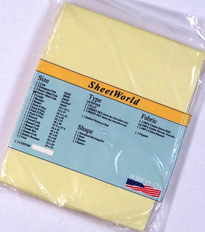 Solid Yellow Extra Deep Cotton Portable / Mini Crib Sheet - 24 x 38 x 5.5