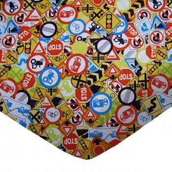 Travel Crib Light (Fits BabyBjorn) - Traffic Signs - Fitted - 100% Cotton Percale - Baby Transport Travel Crib Light Sheets
