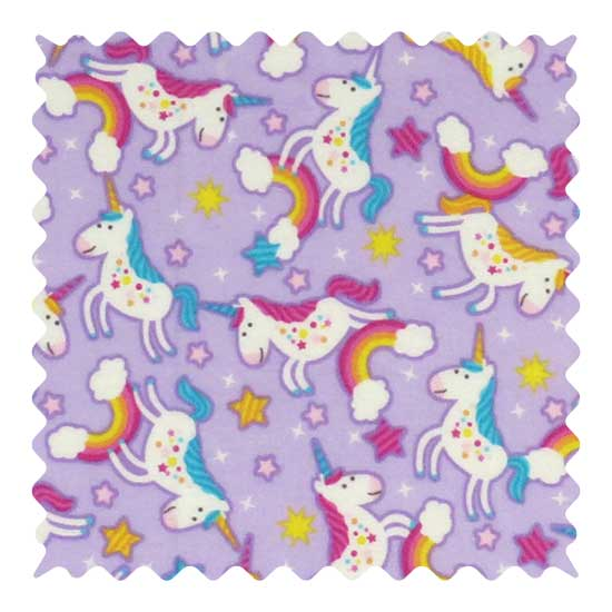 Unicorn Lavender Fabric - 100% Cotton Flannel - 42 x 44 inches