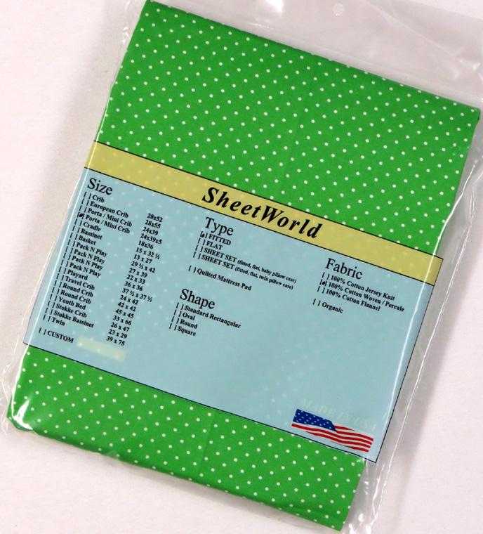 Pindots Green Extra Deep Cotton Portable / Mini Crib Sheet - 24 x 38 x 5.5
