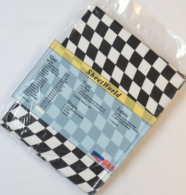Black Amp White Wavy Checkerboard Fitted Crib Sheet