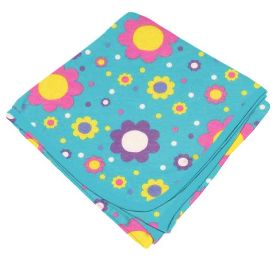 Floral Aqua Receiving Blanket