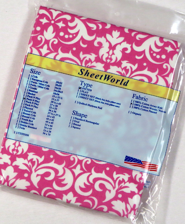 Pink Damask - Cotton Fitted Pack N Play Sheet - Fits Graco - 27 x 39
