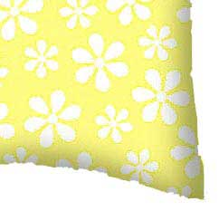 Percale Pillow Cases - Pastel Yellow Floral Woven