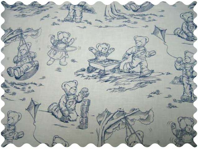 Blue Teddy Toile Fabric - 100% Cotton - 29 x 42 inches
