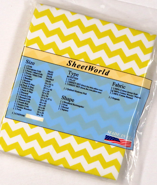 Yellow Chevron - Cotton Fitted Pack N Play Sheet - Fits Graco - 27 x 39