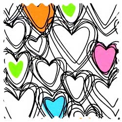 Scribbled Hearts Jersey Fabric
