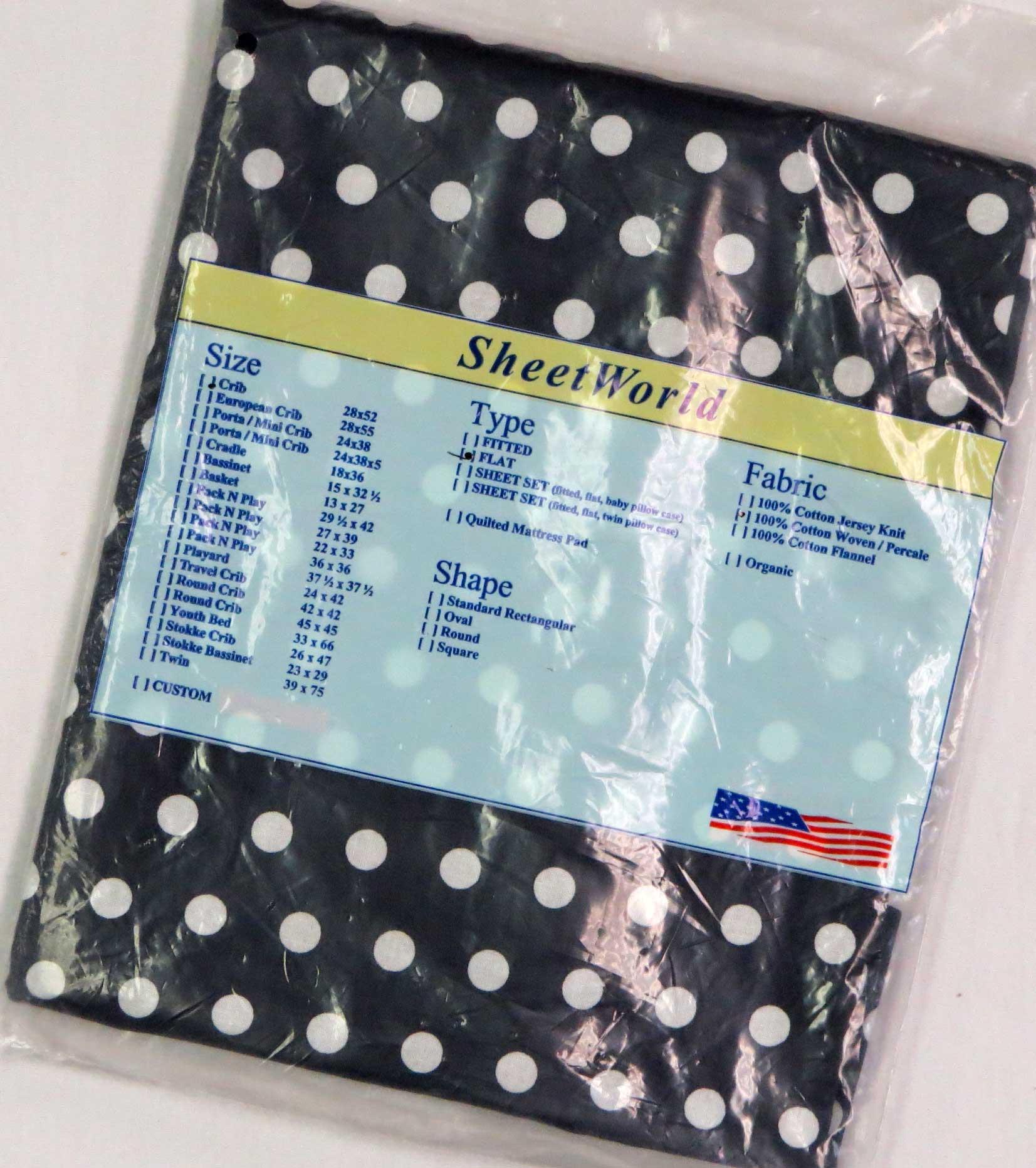 Dots Navy Cotton FLAT / TOP Crib Sheet - 68 x 44