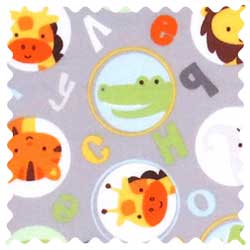 ABC Animals Gray Fabric