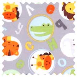 ABC Animals Gray Fabric