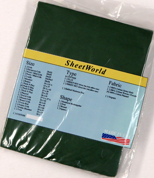 Hunter Green - Cotton Flannel Fitted Pack N Play Sheet - Fits Graco - 27 x 39