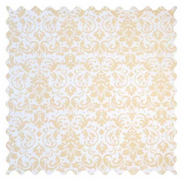 Cream Damask Fabric - 100% Cotton - 29 x 42 inches
