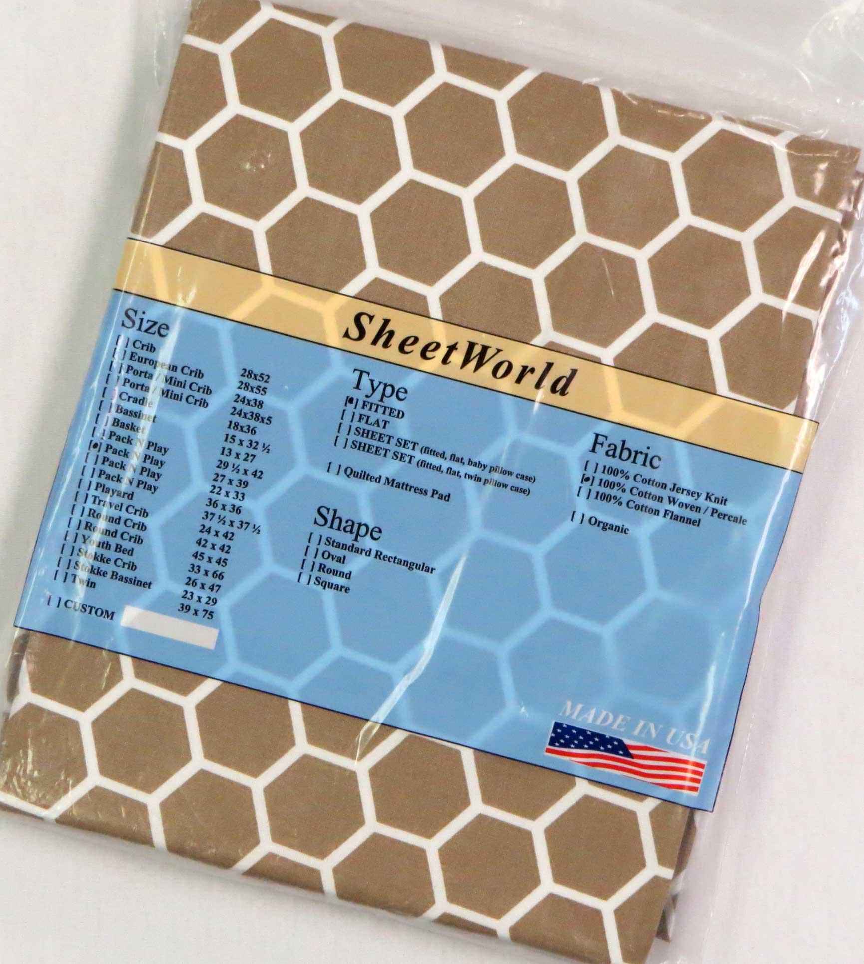 Camel Honeycomb Cotton Fitted Pack N Play Sheet - Fits Graco - 27 x 39
