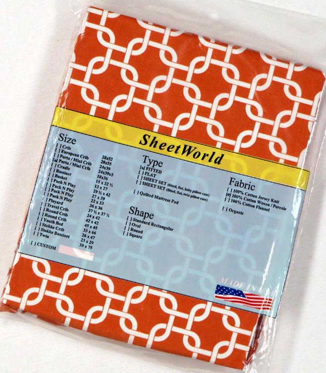 Orange Links Extra Deep Cotton Portable / Mini Crib Sheet - 24 x 38 x 5.5