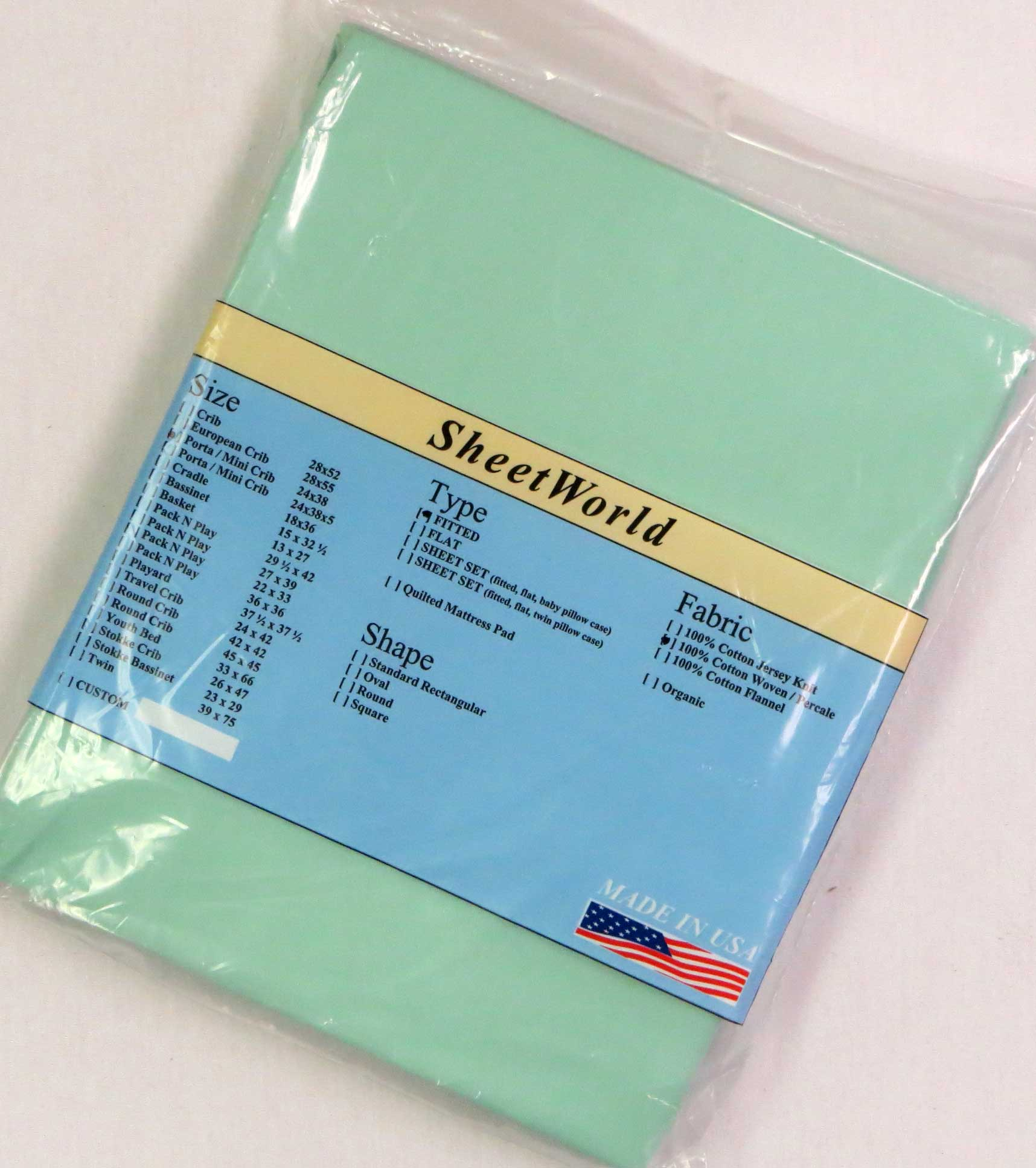 Solid Mint Cotton Portable / Mini Crib Sheet - 24 x 38