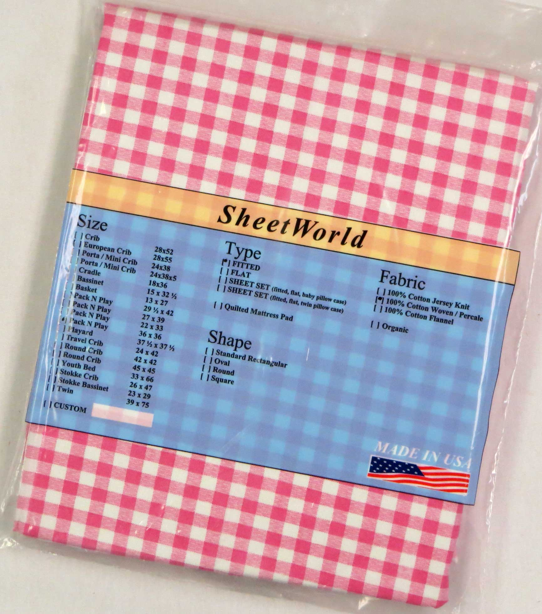 Pink Gingham Check Cotton Fitted Square Playard Sheet Fits Graco TotBloc 36 x 36
