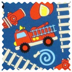 Fire Trucks Blue Fabric