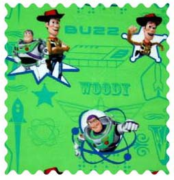 Fabric Shop - Buzz Light Year Green Fabric - Yard - 100% Cotton Percale - Character Prints - Kid Characters Fabric Shop