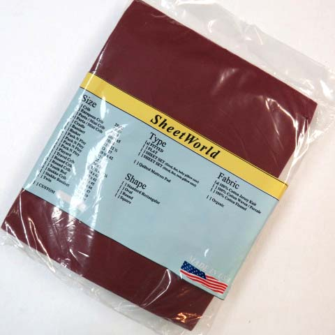 Solid Burgundy Jersey Knit `Extra Deep` Portable / Mini Crib Sheet