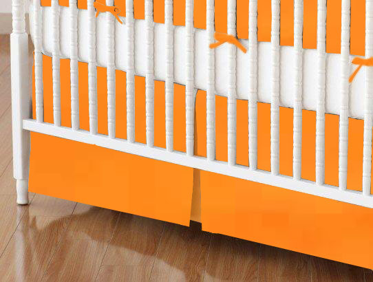 Mini Crib Skirt - Solid Orange Woven