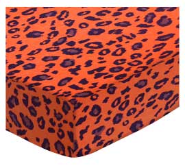 Cradle - Orange Leopard - Fitted - 100% Cotton Woven - Leopard Cradle Sheets