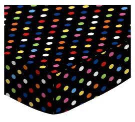 Primary Colorful Dots Black Woven