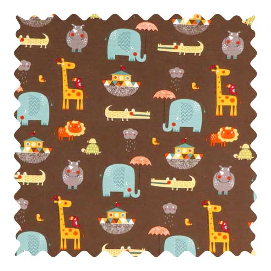 Noahs Ark Brown Fabric - 100% Cotton Jersey - 23 x 56 inches