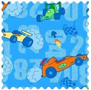 Race Cars Blue Fabric