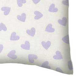 Percale Pillow Case - Pastel Lavender Hearts Woven