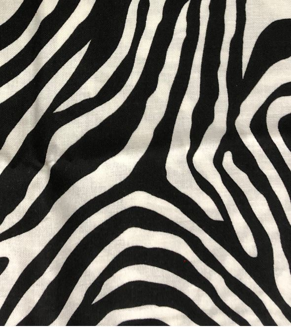 Zebra Fabric - 100% Cotton - 22 x 43 inches