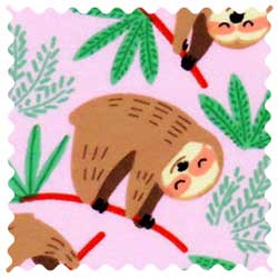 Sloths Pink Fabric