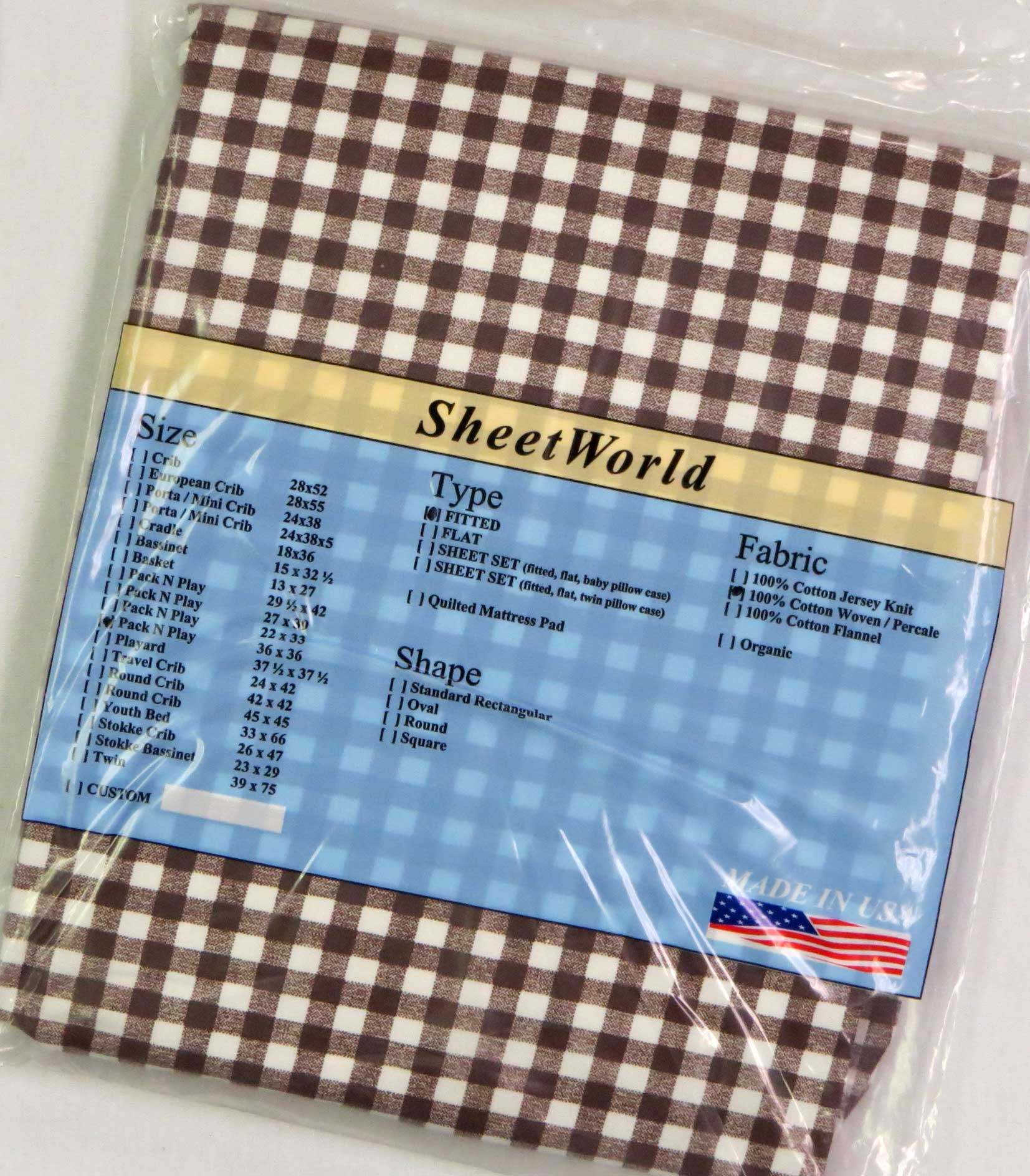 Brown Gingham Check Cotton Fitted Square Playard Sheet Fits Graco TotBloc 36 x 36