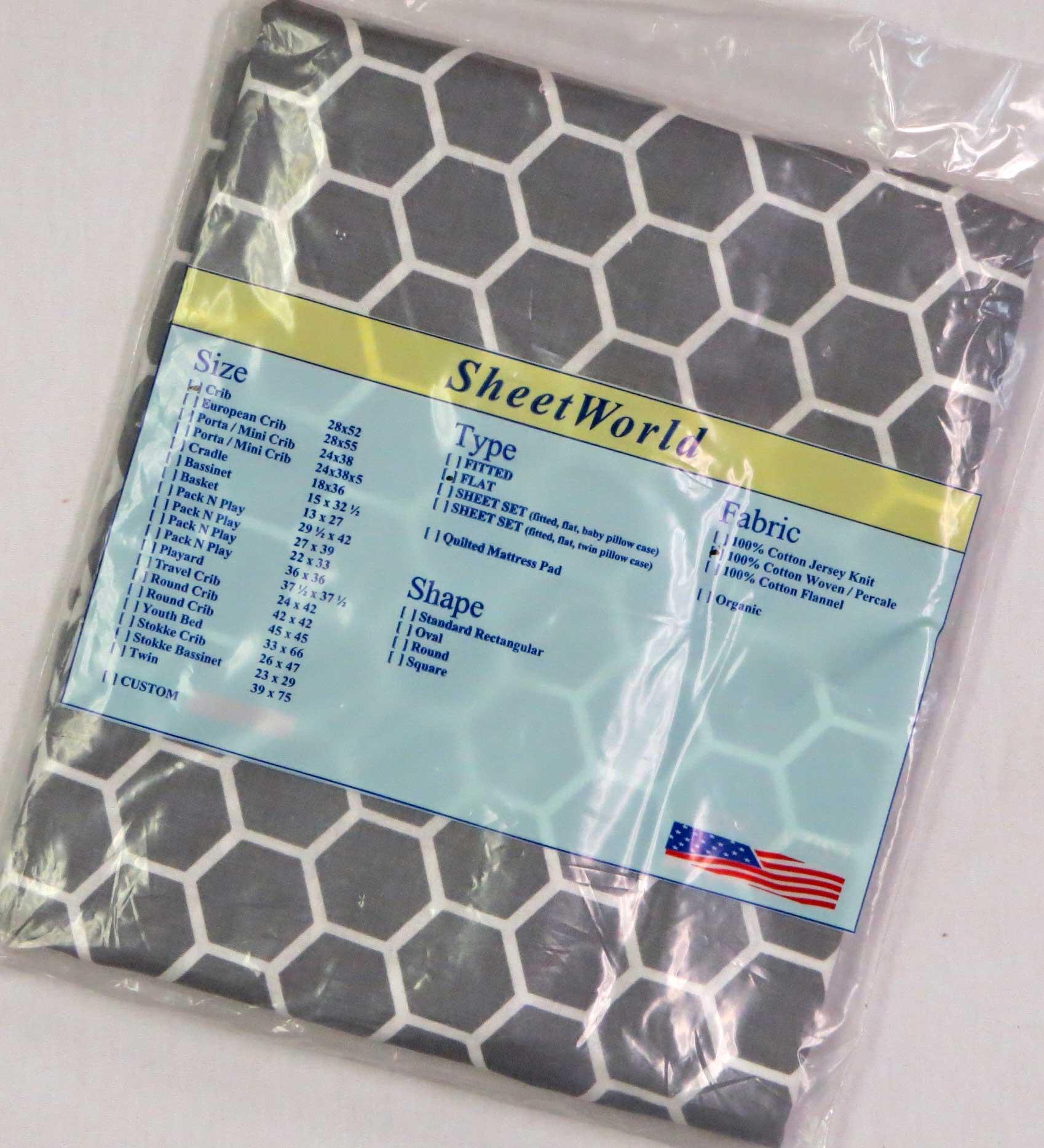Gray Honeycomb Cotton FLAT / TOP Crib Sheet - 68 x 44