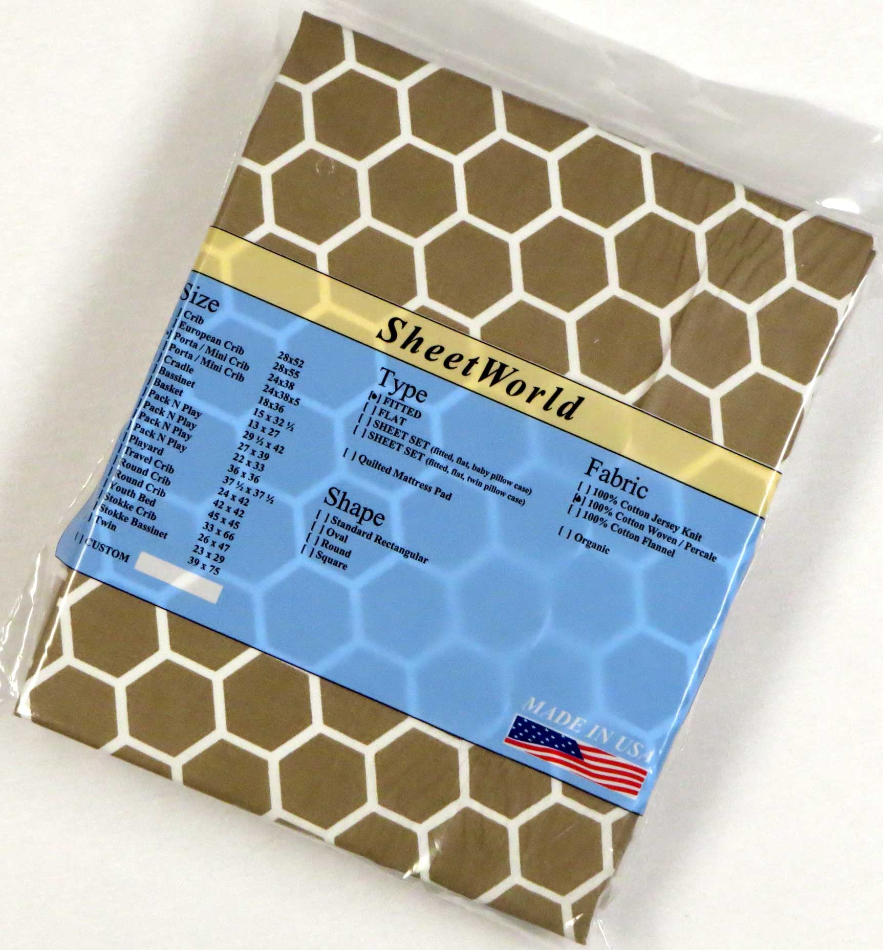 Khaki Honeycomb Cotton Portable / Mini Crib Sheet - 24 x 38