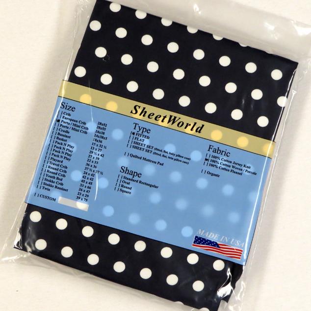 Dots Navy Cotton Portable / Mini Crib Sheet - 24 x 38
