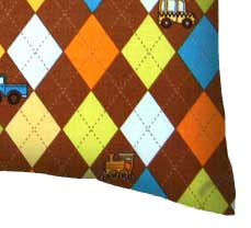 Percale Pillow Case - Argyle Brown Transport