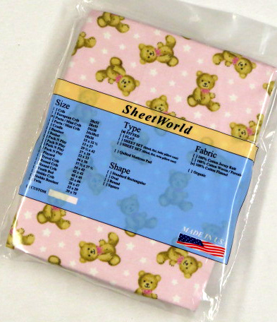 Teddy Bears Pink Cotton Flannel Portable / Mini Crib Sheet - 24 x 38