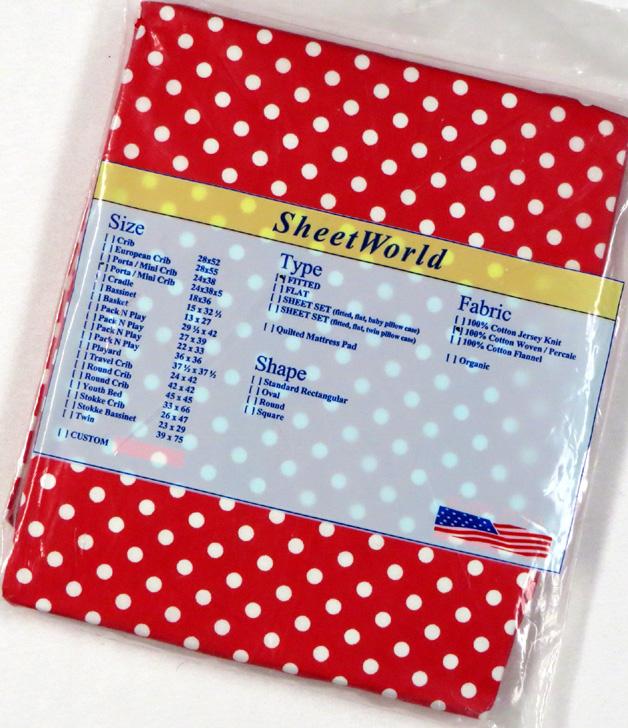 Polka Dots Red Extra Deep Cotton Portable / Mini Crib Sheet - 24 x 38 x 5.5