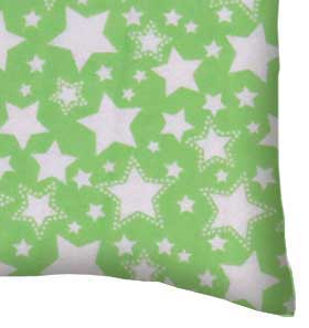 Flannel Pillow Case - Stars Green