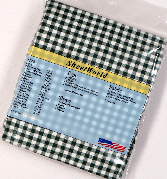 Hunter Green Gingham Check Cotton Fitted Crib Sheet 28 x 52