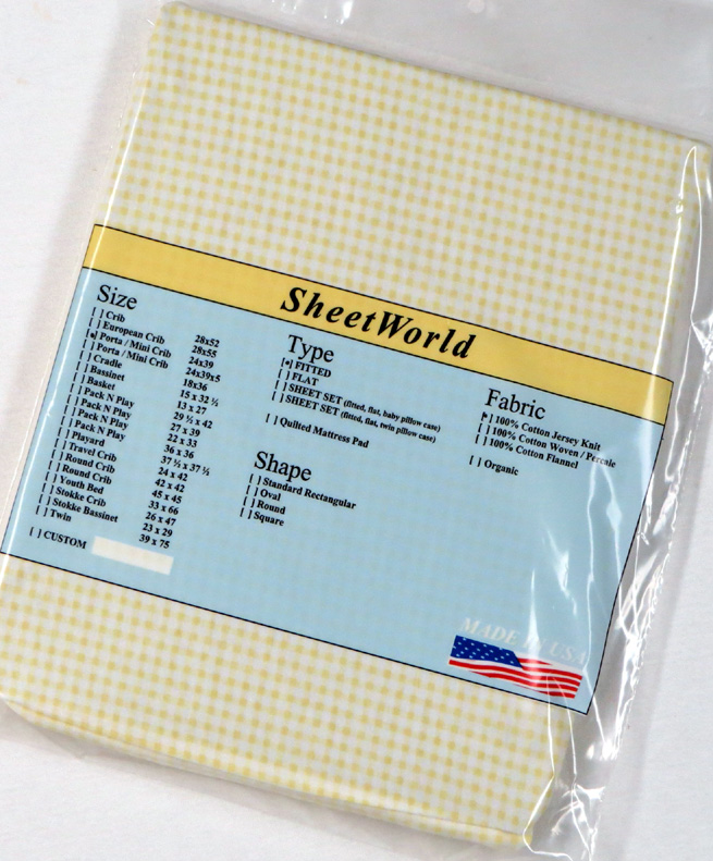 Yellow Gingham Cotton Jersey Knit Portable / Mini Crib Sheet - 24 x 38