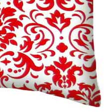 Percale Pillow Case - Red Damask