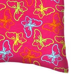 Baby Pillow Case - Butterflies Hot Pink Jersey Knit