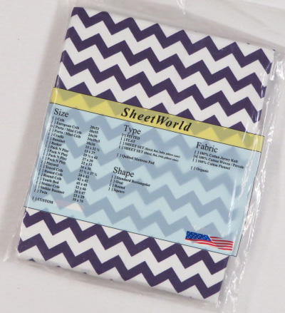 Purple Chevron Cotton Portable / Mini Crib Sheet - 24 x 38